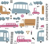 seamless pattern with cute cars.... | Shutterstock .eps vector #1048593929