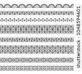 set of elegant black borders on ... | Shutterstock .eps vector #1048594601