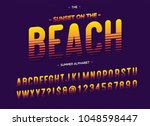 vector beach font colorful... | Shutterstock .eps vector #1048598447