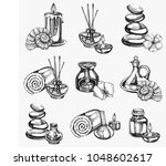 vector set with hand drawn spa... | Shutterstock .eps vector #1048602617