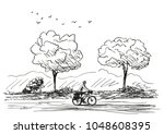 vector sketch of long distance... | Shutterstock .eps vector #1048608395
