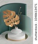 3d render  decorative palm leaf ...   Shutterstock . vector #1048613471