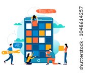 mobile application development... | Shutterstock .eps vector #1048614257