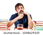 student with alcohol and... | Shutterstock . vector #1048629335