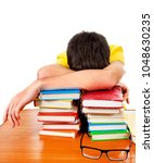 tired student sleep with a... | Shutterstock . vector #1048630235
