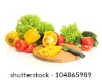 fresh vegetables and knife on... | Shutterstock . vector #104865989