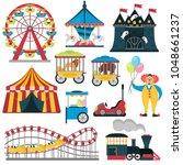 amusement park elements color... | Shutterstock .eps vector #1048661237