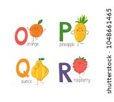 letters o  p  q  r with cute... | Shutterstock .eps vector #1048661465