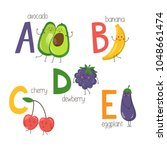 letters a  b  c  d  e with cute ...