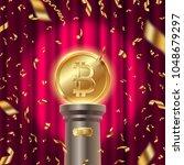 golden bitcoin on a pedestal on ... | Shutterstock .eps vector #1048679297