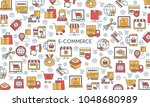 e commerce banner. modern icons ... | Shutterstock .eps vector #1048680989