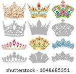 set of golden crown...   Shutterstock .eps vector #1048685351