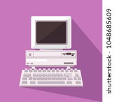 retro computer. vector... | Shutterstock .eps vector #1048685609