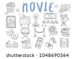 vector set of doodle icons... | Shutterstock .eps vector #1048690364