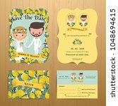 lemon orchard theme wedding... | Shutterstock .eps vector #1048694615