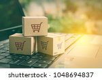 online shopping   ecommerce and ... | Shutterstock . vector #1048694837