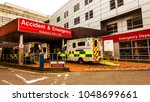 Small photo of Castle Street, Glasgow, Scotland, UK; March 14th 2018: Ambulances at the entrance to the Accident and Emergency department of the Royal Infirmary.