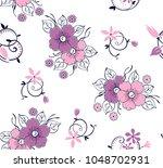 flower pattern with swirl...   Shutterstock .eps vector #1048702931