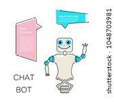 cartoon cute chat bot in flat...   Shutterstock .eps vector #1048703981