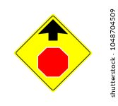 stop ahead sign illustration... | Shutterstock .eps vector #1048704509