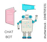 cartoon cute chat bot in flat...   Shutterstock .eps vector #1048705151