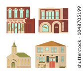cartoon house isolated on white ...   Shutterstock .eps vector #1048705199