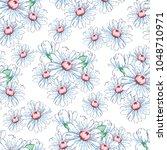 chamomile flower hand drawing... | Shutterstock .eps vector #1048710971