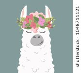 cute cartoon lama alpaca in... | Shutterstock .eps vector #1048711121