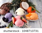 set of ice cream scoops of... | Shutterstock . vector #1048713731