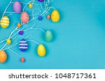 happy easter concept. blue...   Shutterstock . vector #1048717361