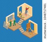 isometric interior repairs...   Shutterstock .eps vector #1048717481