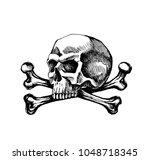 skull and crossbones. sketch... | Shutterstock . vector #1048718345