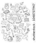 set of hand drawn doodle... | Shutterstock . vector #1048737947