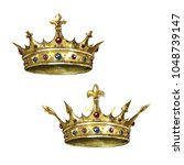 gold crowns. watercolor... | Shutterstock . vector #1048739147