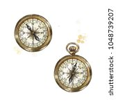 pocket compass. watercolor... | Shutterstock . vector #1048739207