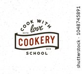 vintage cooking classes logo.... | Shutterstock .eps vector #1048745891