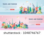 travel composition with famous... | Shutterstock .eps vector #1048746767