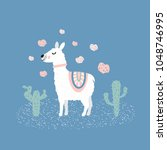 cute llama illustration with... | Shutterstock .eps vector #1048746995