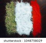 italian flag of spices | Shutterstock . vector #1048758029