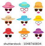 lady photo booth vector set... | Shutterstock .eps vector #1048760834
