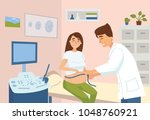 measuring of pregnant woman in... | Shutterstock .eps vector #1048760921