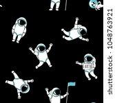 cute funny cosmonaut astronaut... | Shutterstock .eps vector #1048763921