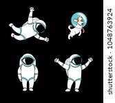 cute funny cosmonaut astronaut... | Shutterstock .eps vector #1048763924