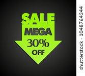 mega sale 30  off arrow banner... | Shutterstock . vector #1048764344