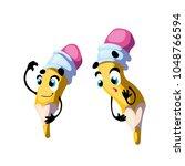 vector funny pencil  cartoon...   Shutterstock .eps vector #1048766594