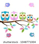 Stock vector colorful owls on the tree with butterflies on a white background 1048771004