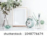 poster frame mockup  front view ... | Shutterstock . vector #1048776674