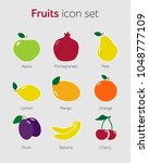 fruit icon set simple flat... | Shutterstock .eps vector #1048777109