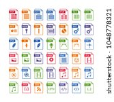 colorful set of file type icons.... | Shutterstock .eps vector #1048778321