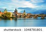 scenic view on vltava river and ... | Shutterstock . vector #1048781801